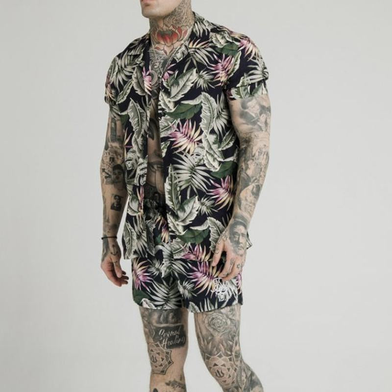 Men Summer Fashion Printed Two-Piece Suits