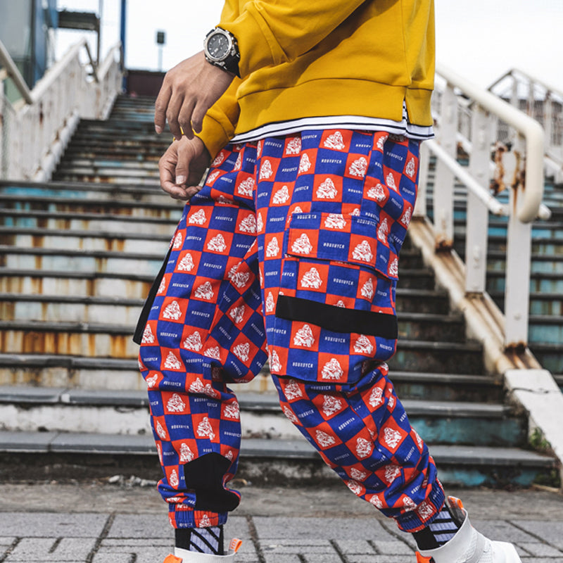 Men Hip-Hop Plaid Tapered Jogger Trousers