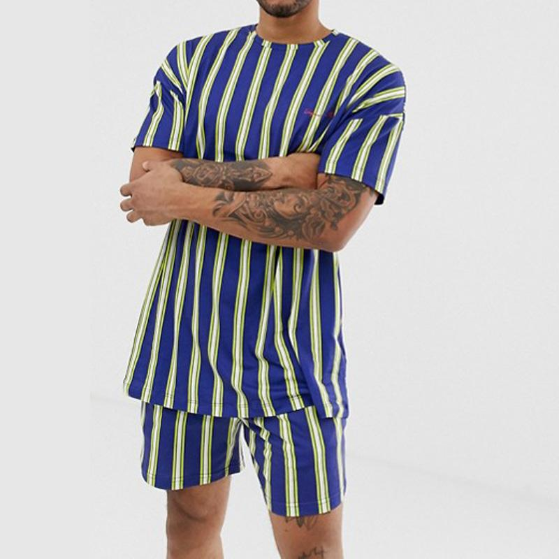 Men Round-Neck Stripe Two-Piece Sets