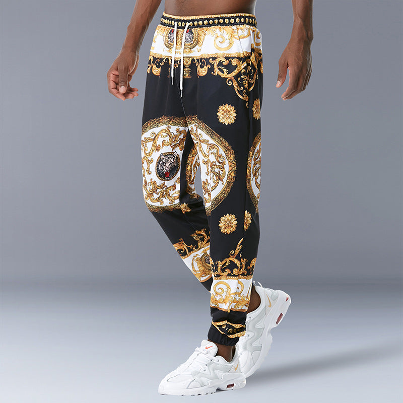 Loose Retro Print Casual Trousers