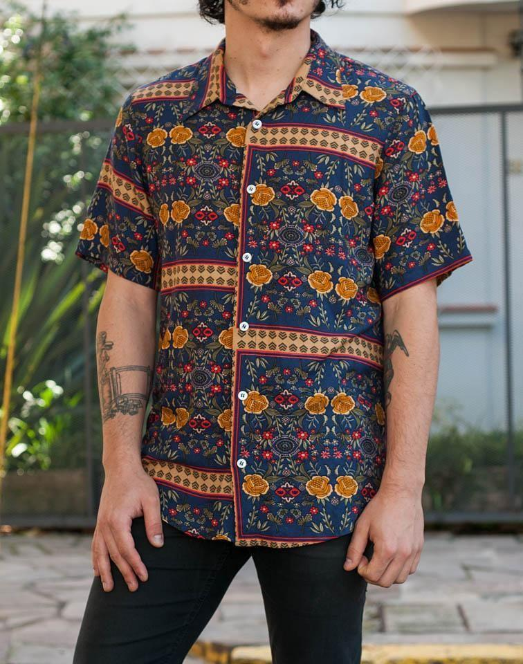 Men Printed Lapel Short Sleeves Shirt