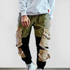 Mens Streetwear Cargo Sweatpants Multi-Pocket Patchwork Trousers