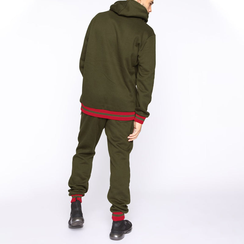 Men Hoodie Two-Piece Tracksuit Army Green