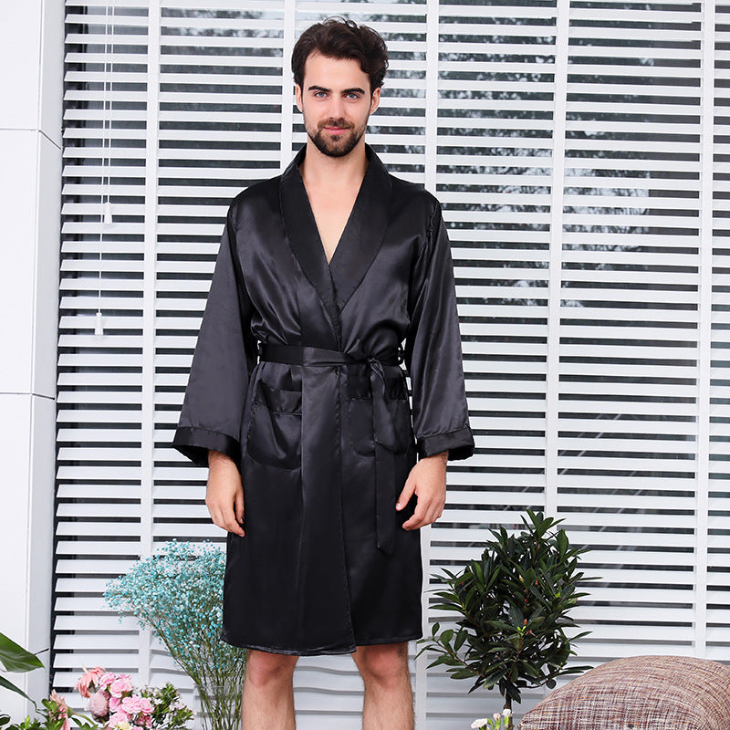 Men Black Robes Casual Soft Satin Pajamas Loungewear