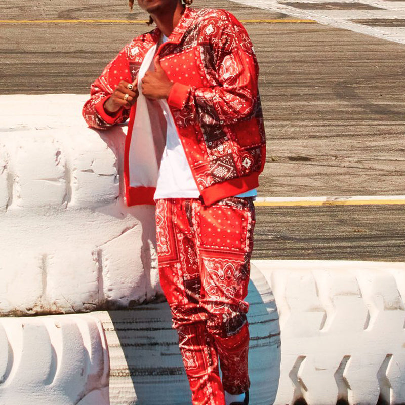 Festival Printed Track Jacket Two-Piece Suit