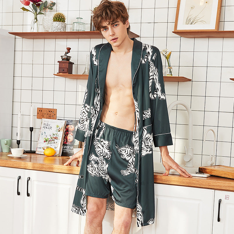 Men Animal Printed Robes Nightgown Suits