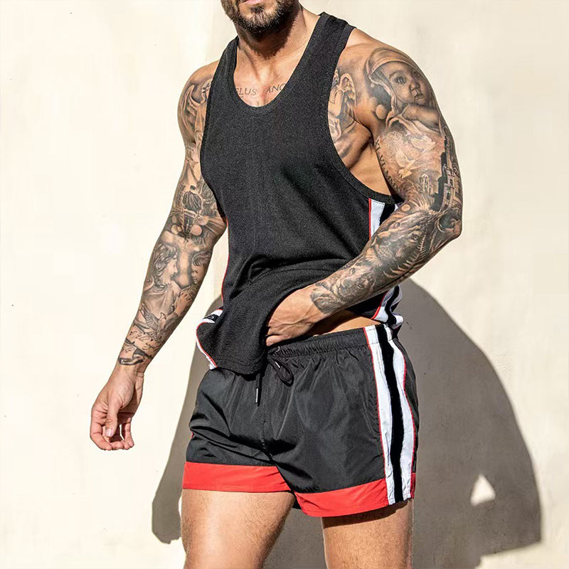 Men Home Gym Sleeveless Set Surfing Soft Two-Piece Suits