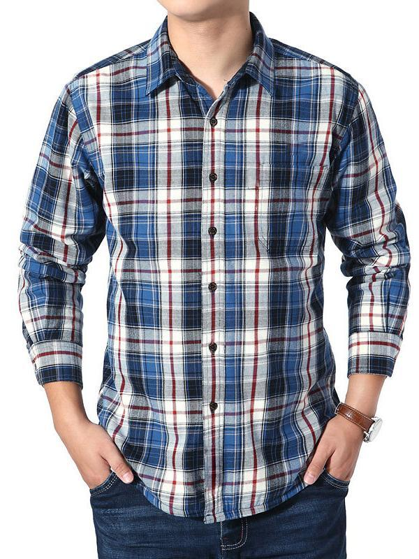 Men Plaid Lapel Shirt