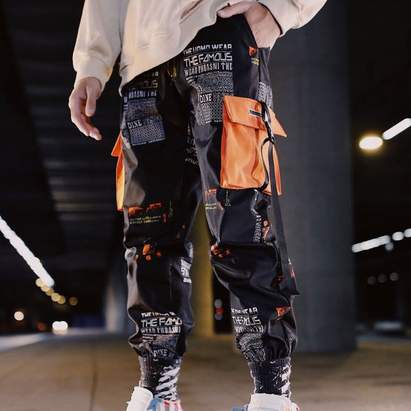 Mens Hip-Hop Style Contrast-Colored Cargo Trousers
