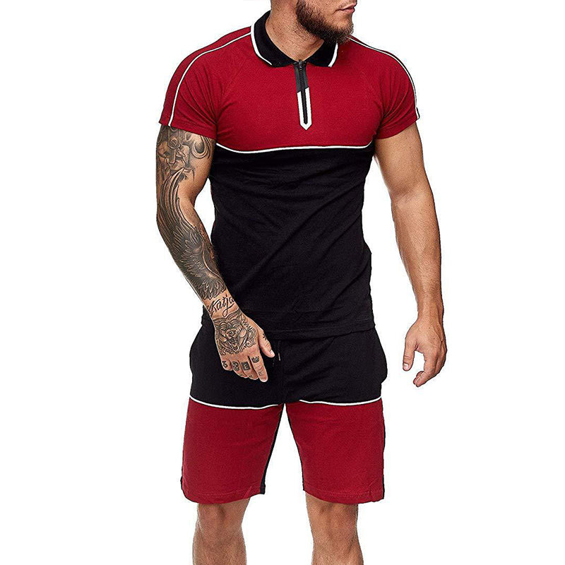 Men Color Block Slim Sports Short Sleeve Shorts Set