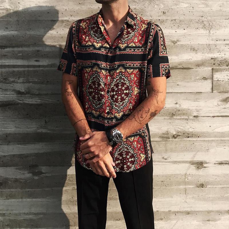 Men Paisley Pattern Shirt Tops