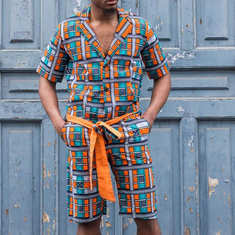 Men Vacation Tribal Printed Two-Piece Suits
