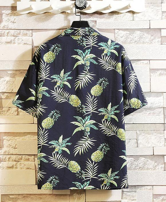 Men Printed Short Sleeve Blouse Shirts