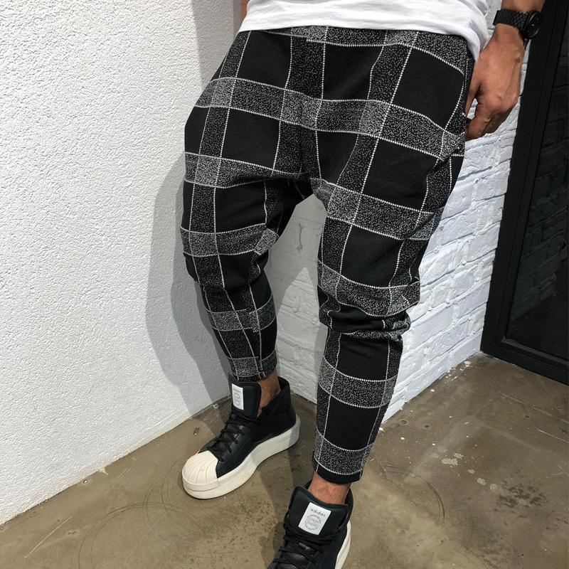 Men Plaid Tapered Pants