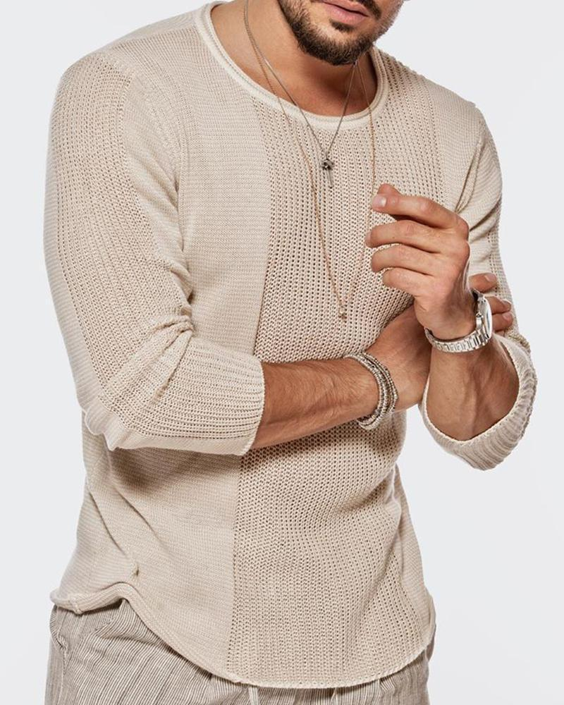Men Round Neck Cutout Casual Sweater