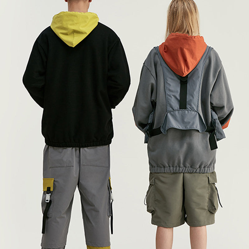 Men Personality Contrast Stitching Wind Hooded Hoodies