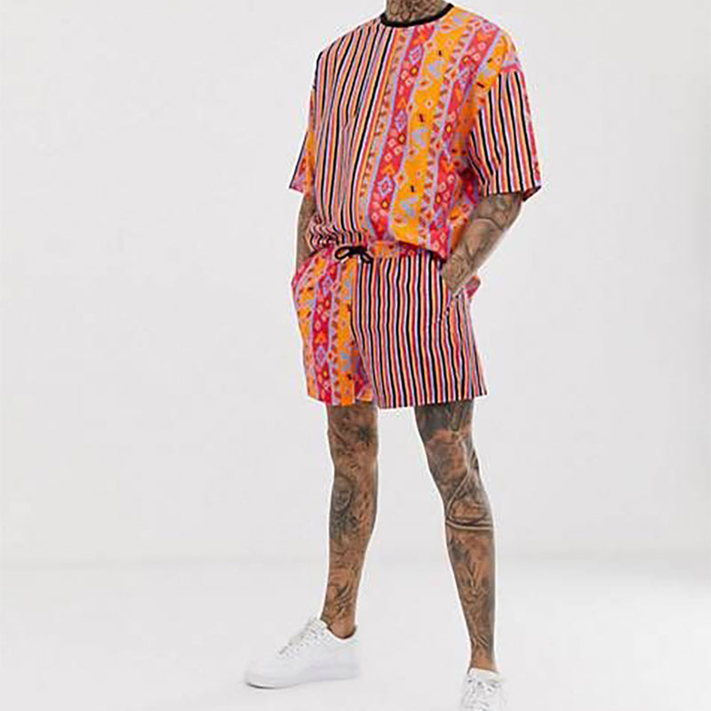 Men Fashion Tribal Printed Two-Piece Suits