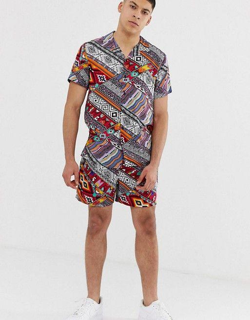 Men Casual Hawaii Printed Two-Piece Suits
