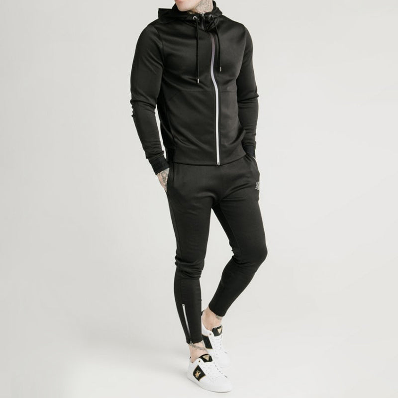 Men Solid Color Casual Sweatshirt Suit