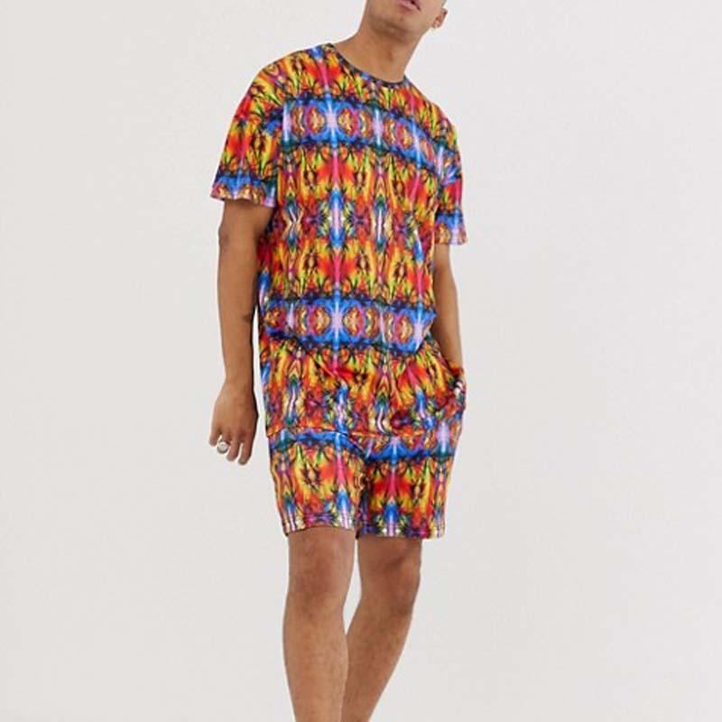 Men Round-Neck Casual Printed Two-Piece Sets