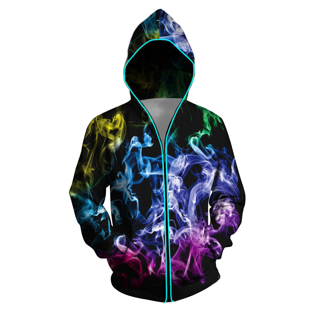 Men Printed Photoelectric Zipper Jacket