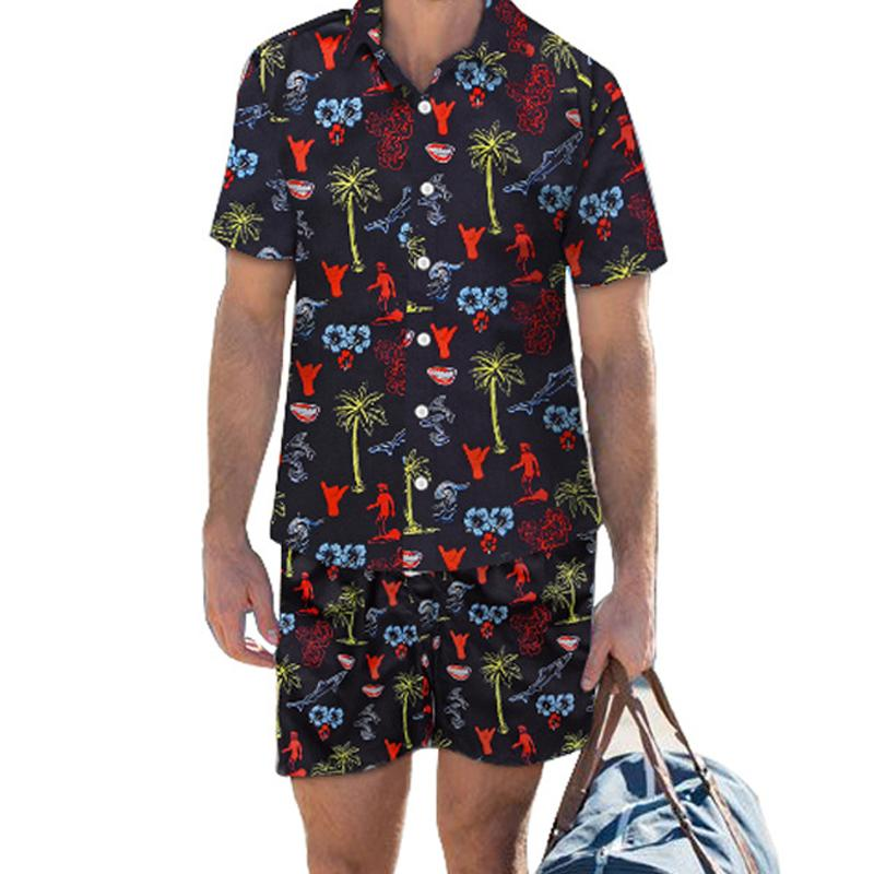 Men Casual Tropical Print Two-Piece Suits