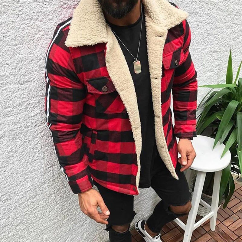 Plaid Composite Plush Long Sleeve Jacket