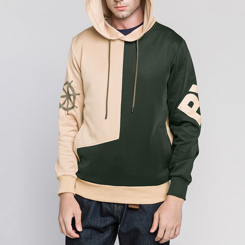 Men Patch Loose Hooded Hoodied