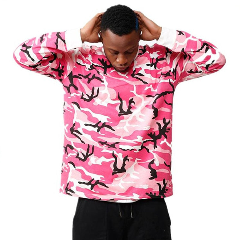 Men Camouflage Pullover Round Neck Hoodied