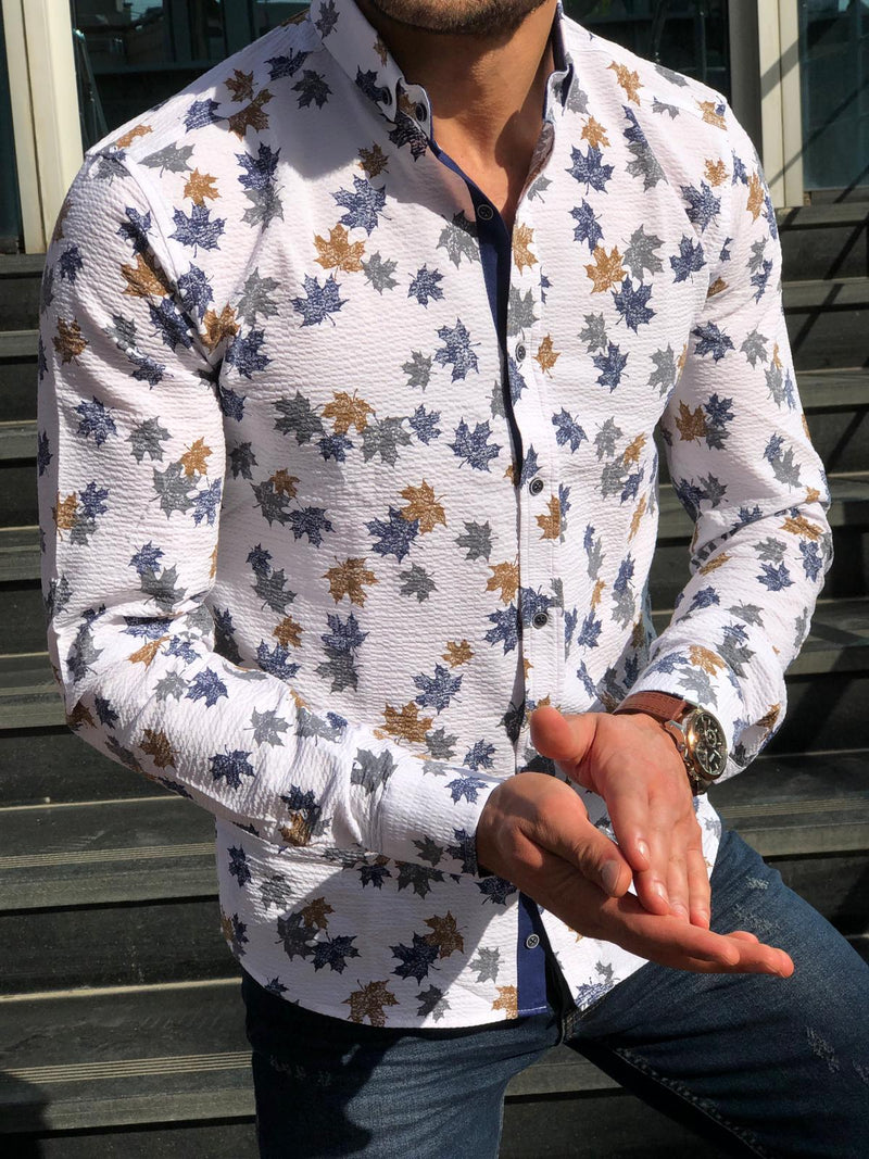 Men Leaf Printed Long Sleeves Shirt