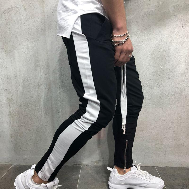 Men Tapered Zipper Trousers
