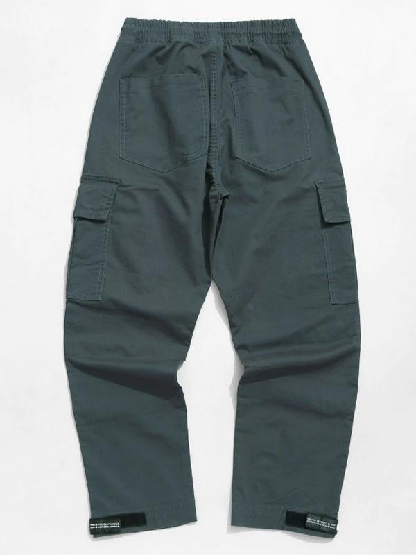 Straight Leg Solid Casual Pants