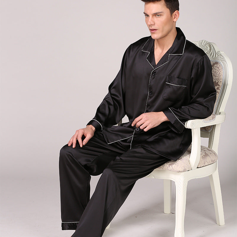 Men Long Sleeves Pajamas Satin Nightgown