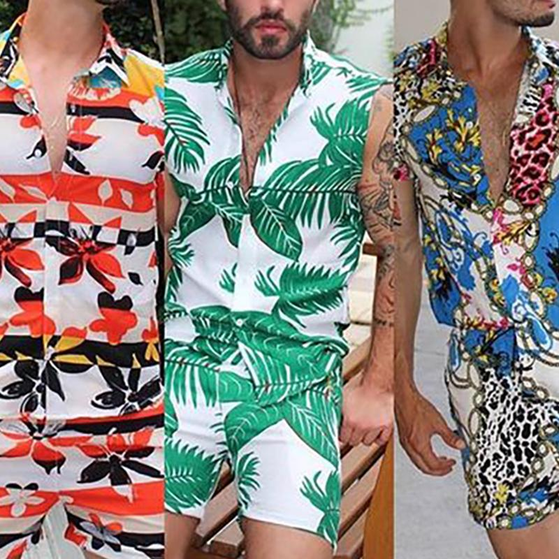 Men Vacation Fashion Street Style Two-Piece Sets