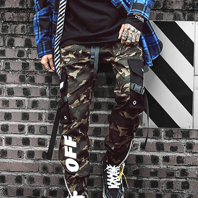 Mens Camo Style Explorer Joggers Tapered Jeans Cargo Pants