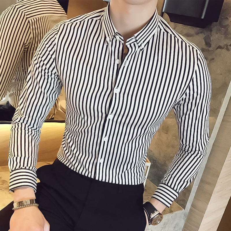 Men Lapel Striped Long Sleeves Shirt