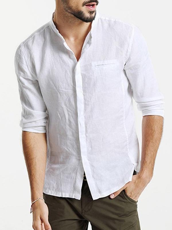 Men Stand Collar Solid Blouse Shirt