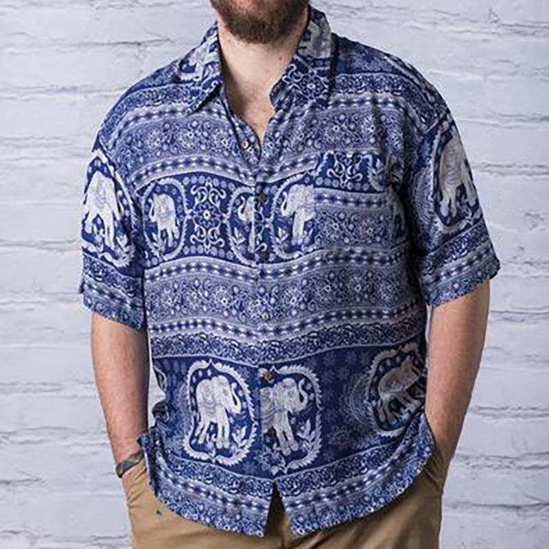 Men Blue Elephant Printed Shirts