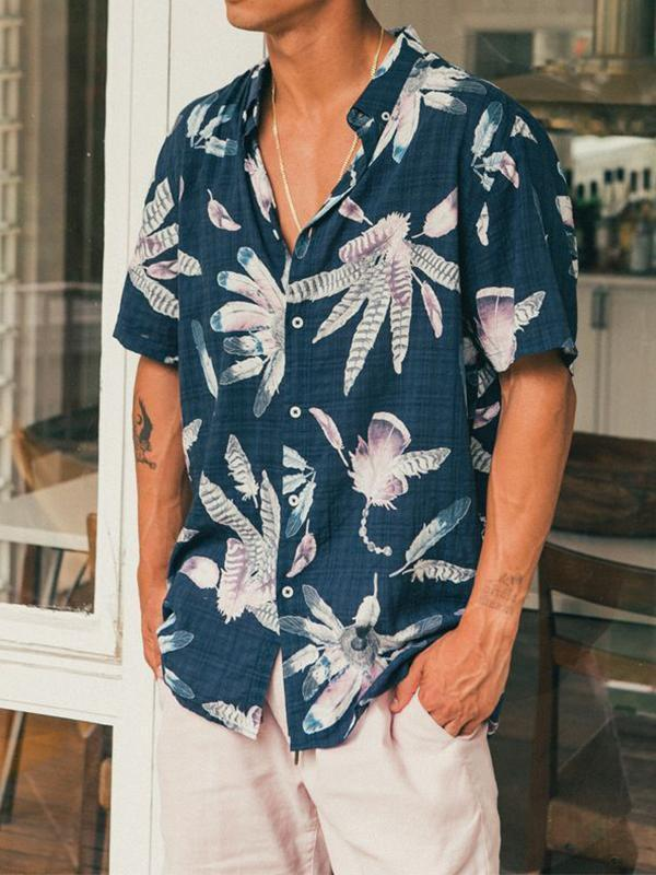 Men Short Sleeves Tropical Blouse Shirt