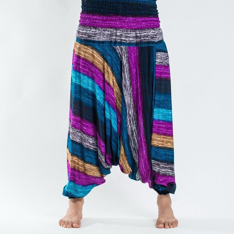 Men Color Stripe Loose Harem Pants