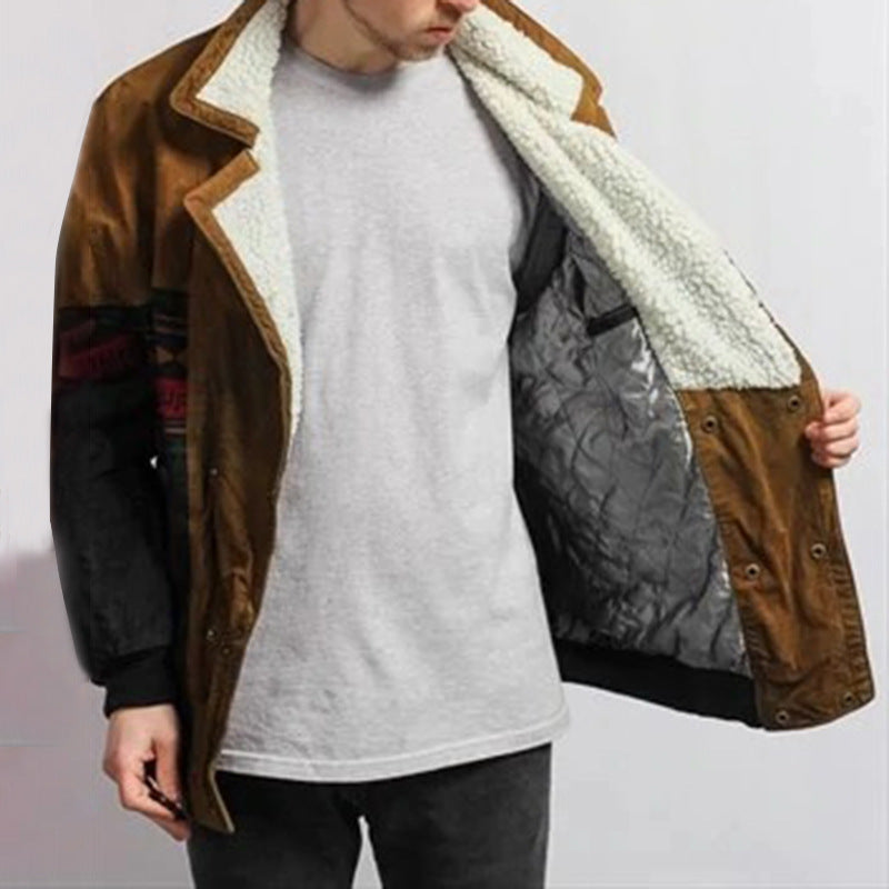 Men Color Block Print Lapel Casual Jacket