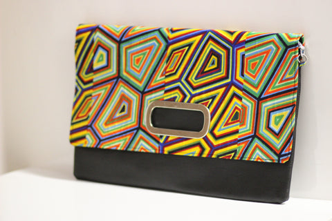 African Print and Faux Leather Oversize Clutch w/chain