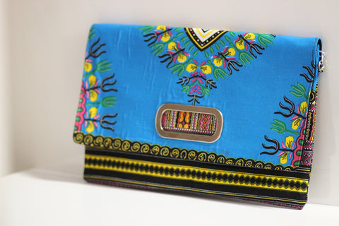 Oversize African Print Envelope Clutch w/ Chain
