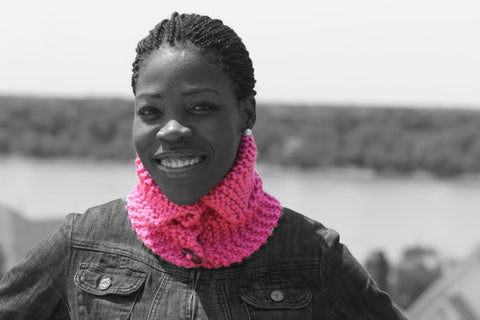 Pink Knit Button Circle Scarf