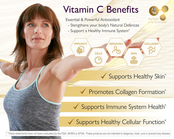 Vitamin C 500mg + BioFlavonoids Supplement - 180 Vegan Tabs - 6 Month Supply Immune Pro BioTech Life Sciences