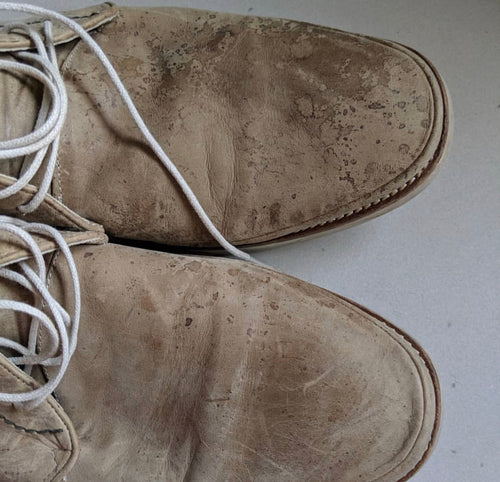 mens shoes thrifted repair water stains