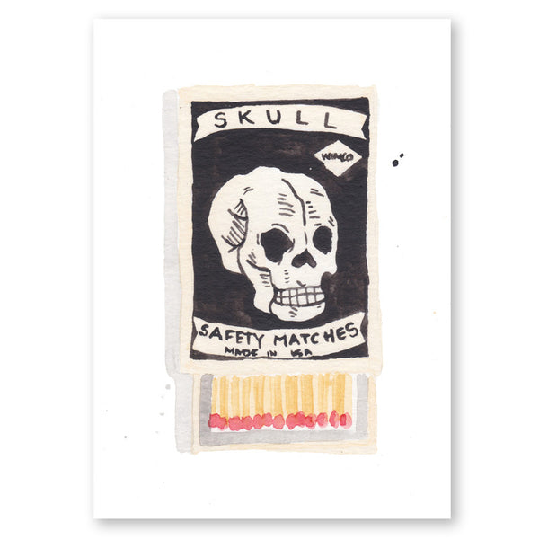 Skull Matchbox Mini Art Print