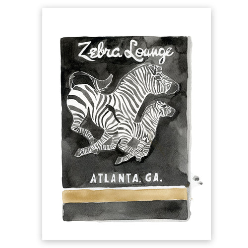 Zebra Lounge Matchbook Limited Edition Print