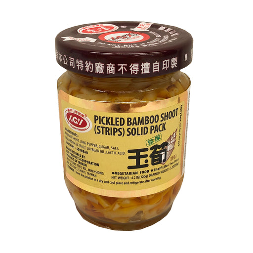 AGV Pickled Bamboo Shoot Strips In Solid Pack 4.2oz Front