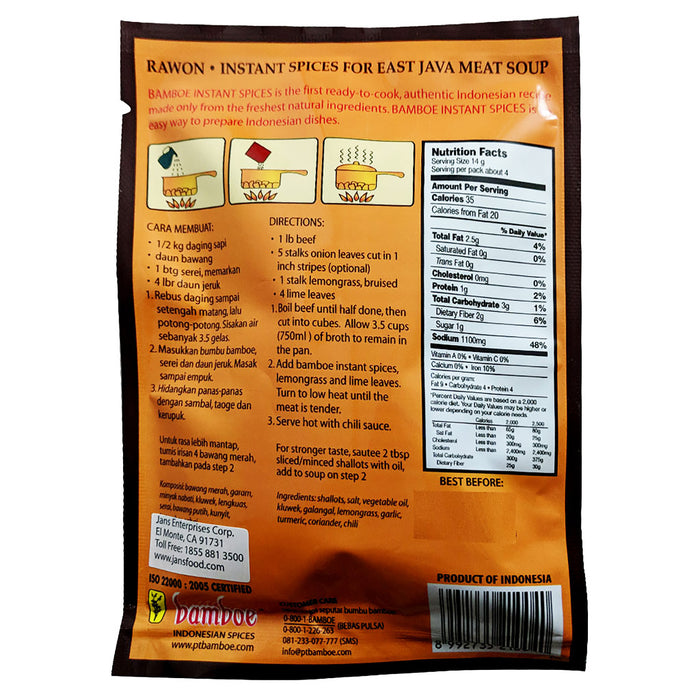 Bamboe Indonesian Mix - Rawon 1.9oz Back